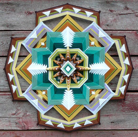 Dancing for God, a 32 inch, 12-sided, Ojo de Dios mandala, by custom order