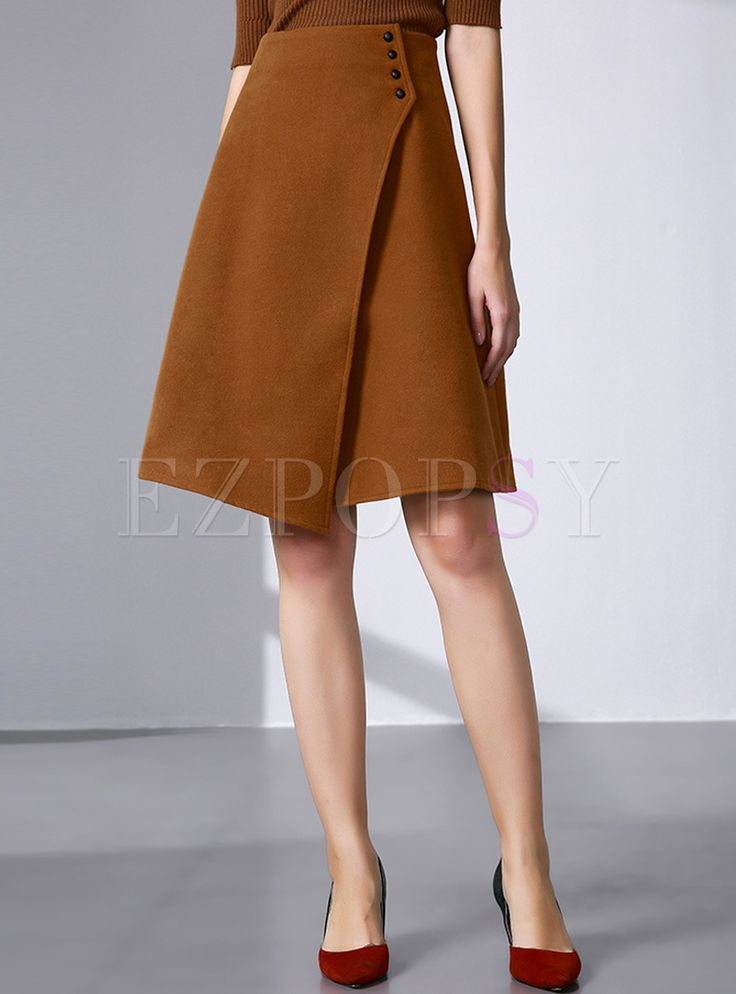 Shop for high quality Vintage Asymmetric Buttoned A-line Skirt online at  cheap prices and