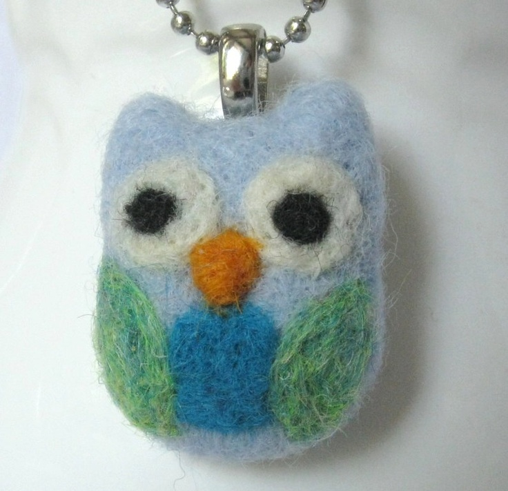 Needle Felt Owl Pendant Necklace - Whimsical Children's Jewelry. $16.00, via Etsy.
