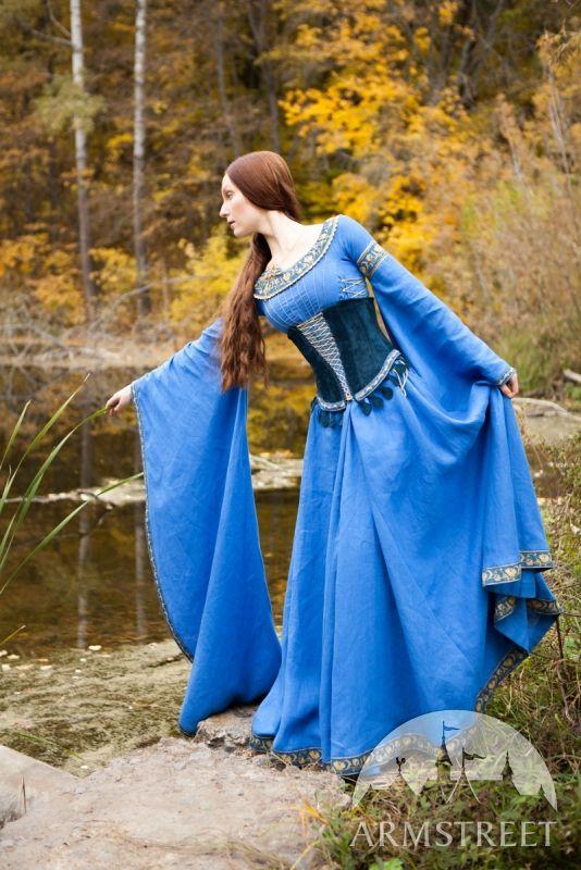 """Abito medievale di lino e cintura corsetto camoscio """"Signora del lago"""""""