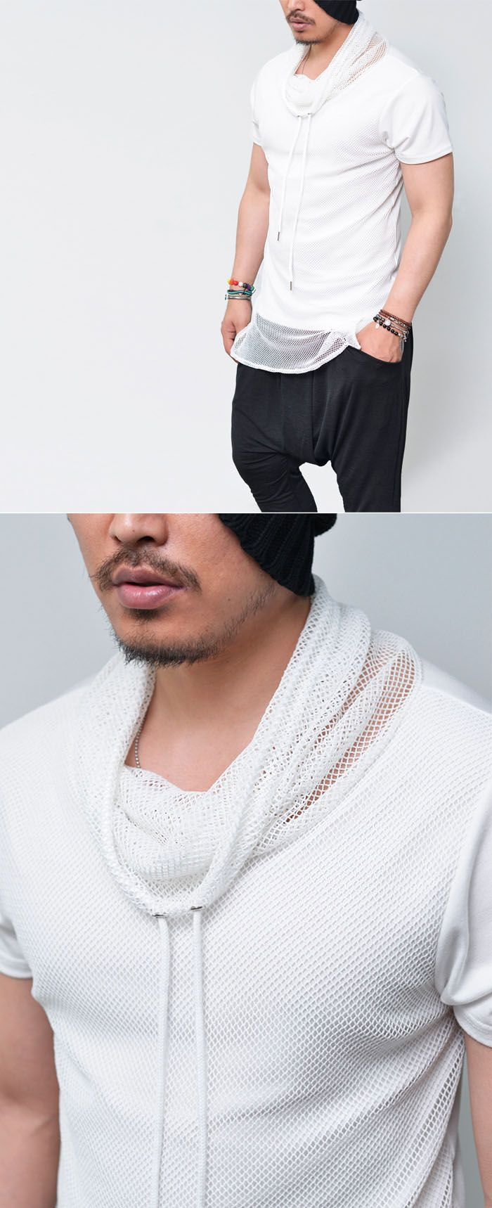Tops :: Tees :: Mesh Turtle Layered Round-Tee 559 - Mens Fashion Clothing For An Attractive Guy Look