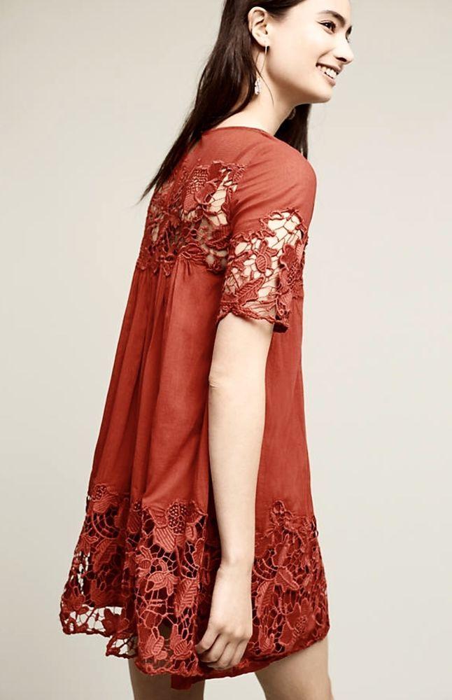 NEW Anthropologie Holding Horses dark orange Floral Lace Swing Dress Petite 0 #HoldingHorses #swinglacedress #versatile
