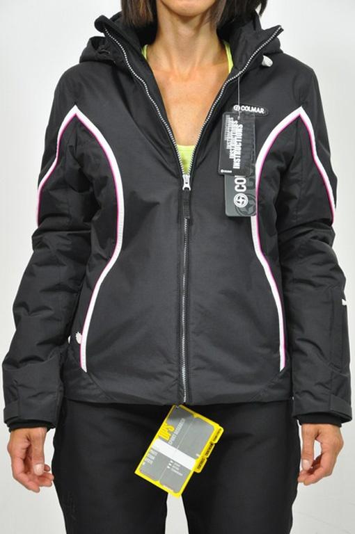 Colmar Giacca sci col. nero con dettagli in rosa e bianco. Tessuto idrorepellente, impermeabile, antivento, termico.