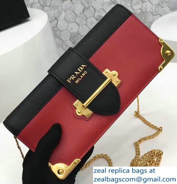 Prada Cahier Calf Leather And Saffiano Leather Clutch Bag 1BF048 Red/Black 2017