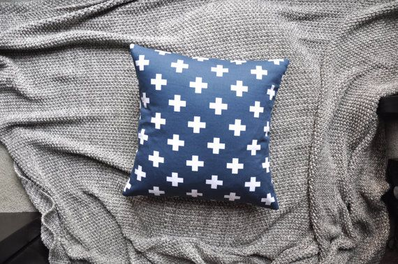 Navy Swiss Cross Print Envelope Cushion Cover by trimandthread