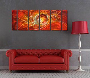 Orange wall art is the perfect type of fall wall art to use  in your home.  In fact fall canvas art is  especially trendy this time of year.   Whether it be an orange wall clock, orange canvas art or even orange  wall hangings you will find something perfect to decorate your home for  #autumn.       Winpeak Art Original Handcrmade Red Abstract Metal Wall Art Orange Painting Home Decor Large Modern Hanging Contemporary Aluminum Sculpture – Decorative Artwork