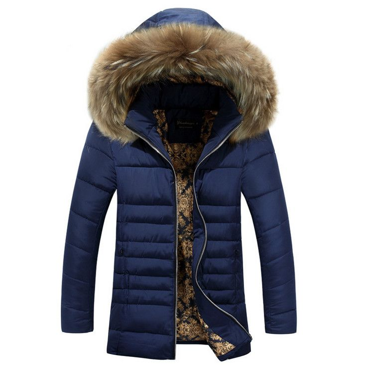 Hot Sale Winter Windproof Hooded Men Parka High quality Thickening Cotton-padded Coat Plus Size 3XL Fur collar Warm Outwear #Affiliate