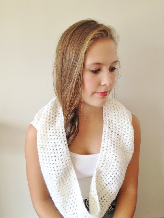 Cream and Sequin Cowl Scarf - Hand Crocheted Sparkle Silver Sequins https://www.etsy.com/shop/KittensAndWhimsy