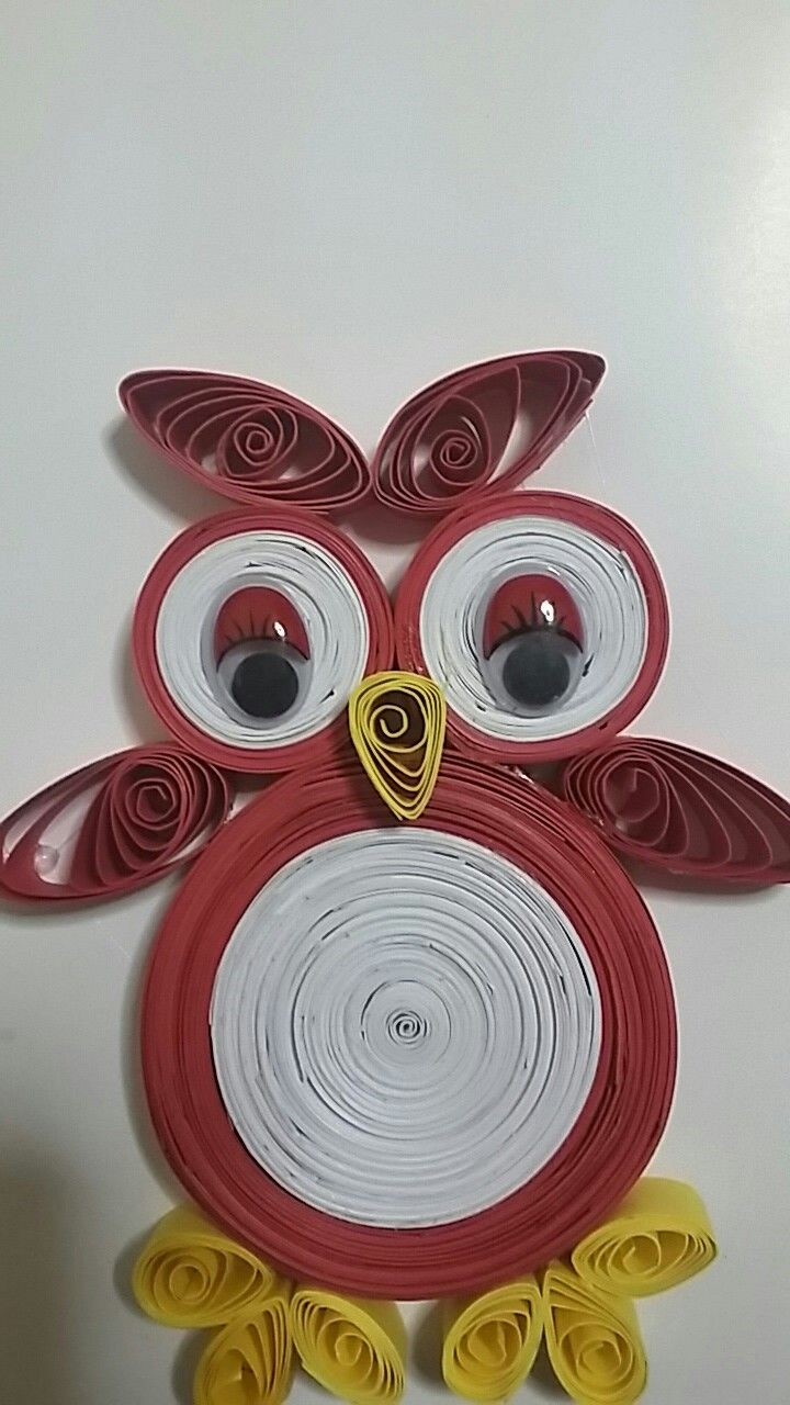 happy owl quilling paper art