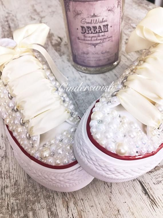 265faf0e7122a Ivory Luxury pearl sparklers / All over converse / Bridal   Etsy ...