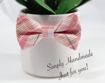 Pink plaid bow tie, little boys bow tie, Toddler bow tie, baby bow tie, wedding bow ties, ring bearers, groomsmen, grooms pink bow tie