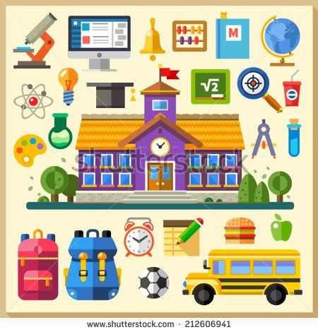 Education. School. University. Vector flat icon set and illustrations: building, bus, backpack, schedule, physics, chemistry, mathematics, computer science, on line training - stock vector