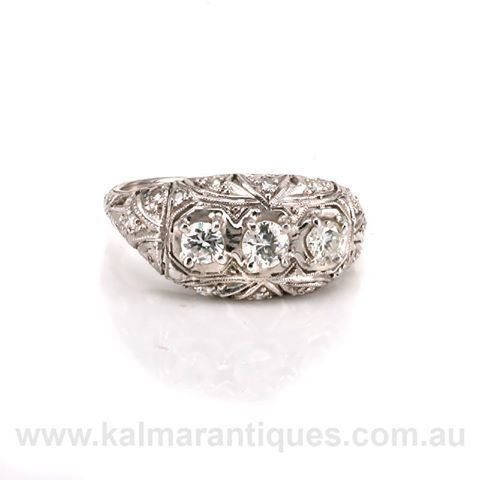 Beautifully hand made in platinum in the 1930's comes this Art Deco diamond ring. Priced at $8,250 Kalmar Antiques