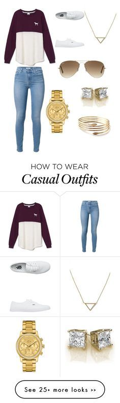 """""""casual"""" by tionnaharrid on Polyvore featuring mode, Victoria's Secret, 7 For All Mankind, Vans, Ray-Ban, Banana Republic et Lacoste"""