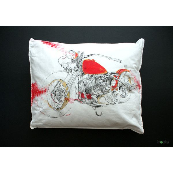 Bobber Motorcycle Pillowcase, Custom motorcycle art, Black and white,... (315 PLN) ❤ liked on Polyvore featuring home, bed & bath, bedding, bed sheets, black white bedding, harley davidson bedding, black and white pillow cases and black and white bedding