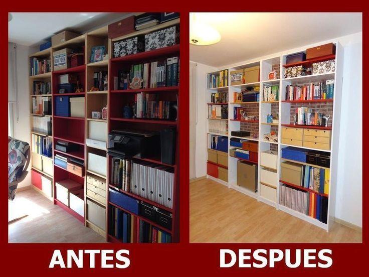 Antes y después de la librería Billy de Ikea
