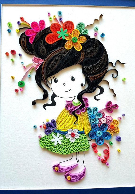 Paper Quilled 'Evelynn' cute little girl Doll Nursery decor, kids room artwork, Wall art,birthday, Christmas gift ideas