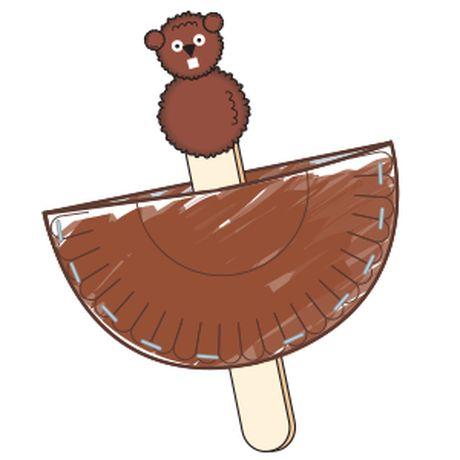 Celebrate Groundhog Day with this adorable craft. Materials for one: paper plate, cut in half 2 brown pom-poms (1 large, 1 medium) jumbo craft stick -