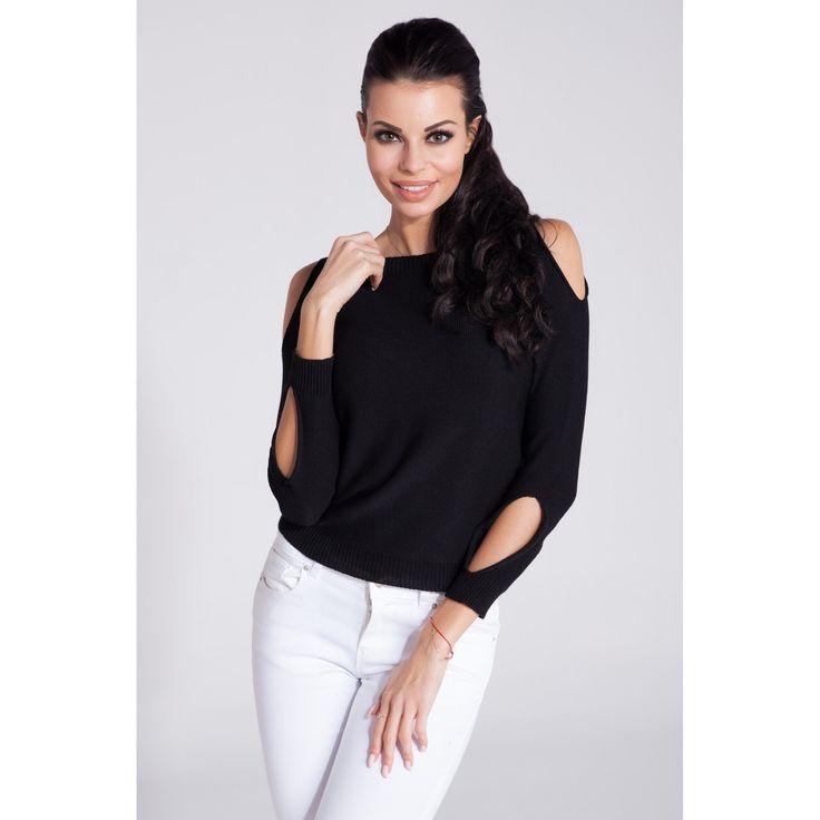 Bluza casual neagra de dama cu decupaje decorative Fobya  #bluzetricotatedama