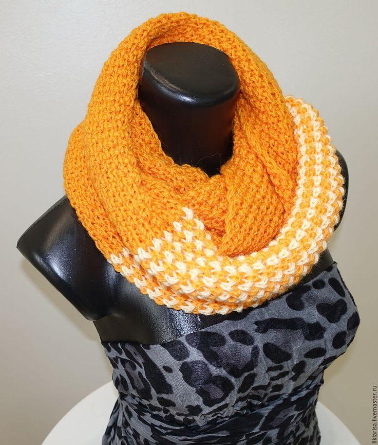 "Купить шарф-снуд ""краски осени"" - оранжевый, снуд вязаный, снуд шарф хомут"