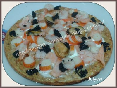 Pizza masa de atun cubierta de marisco Recetas Dukan By Julycar: Pan pizza Dukan Crucero