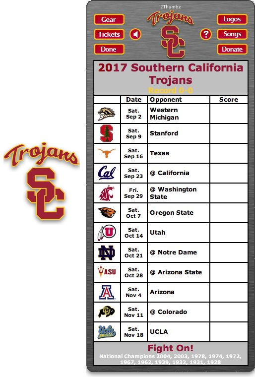 Get your 2017 USC Trojans Football Schedule App for Mac OS X - Fight On!  - National Champions 2004, 2003, 1978, 1974, 1972, 1967, 1962, 1939, 1932, 1931, 1928 Download yours at: http://2thumbzmac.com/teamPages/USC_Trojans.htm