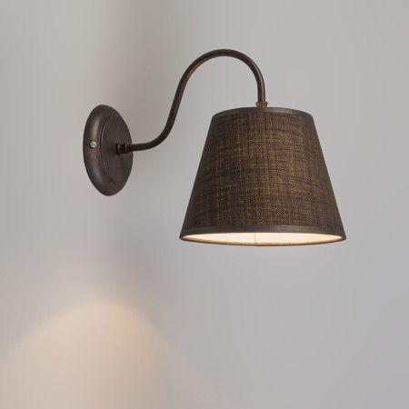 Wandlamp Silea Down met kap bruin