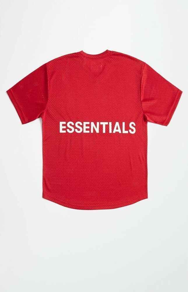 4376bba7 NWT Fear of God Essentials Mesh Boxy T-Shirt RED Medium M FOG Pacsun | eBay