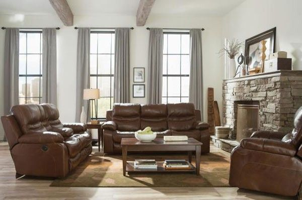Catnapper - Patton 3 Piece Power Lay Flat Reclining Living Room Set in Chestnut - 64241CHE-P-3SET