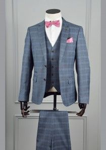 3 Piece Tapered Blue Check Suit by 6th Sense