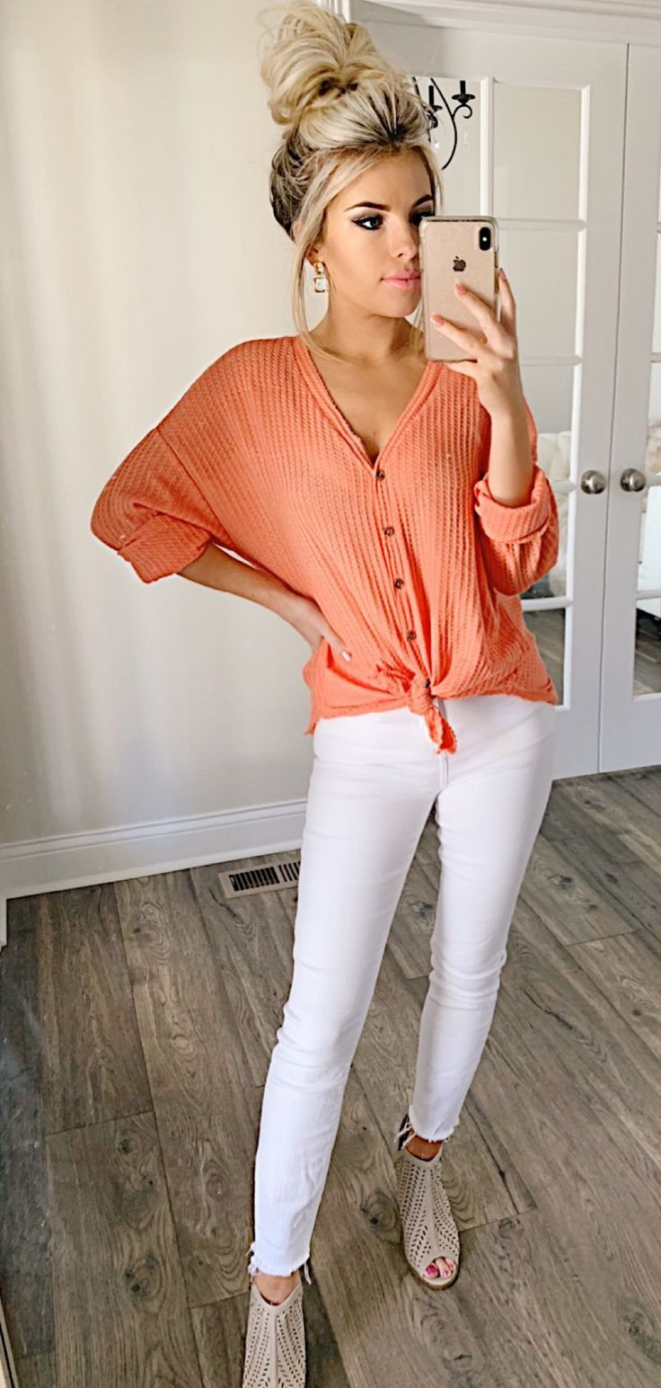 orange button-up shirt #spring #outfits