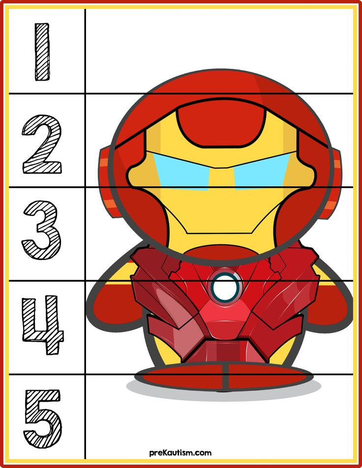 Ironman #1-5 Counting Puzzle - Activities For Toddlers With Autism