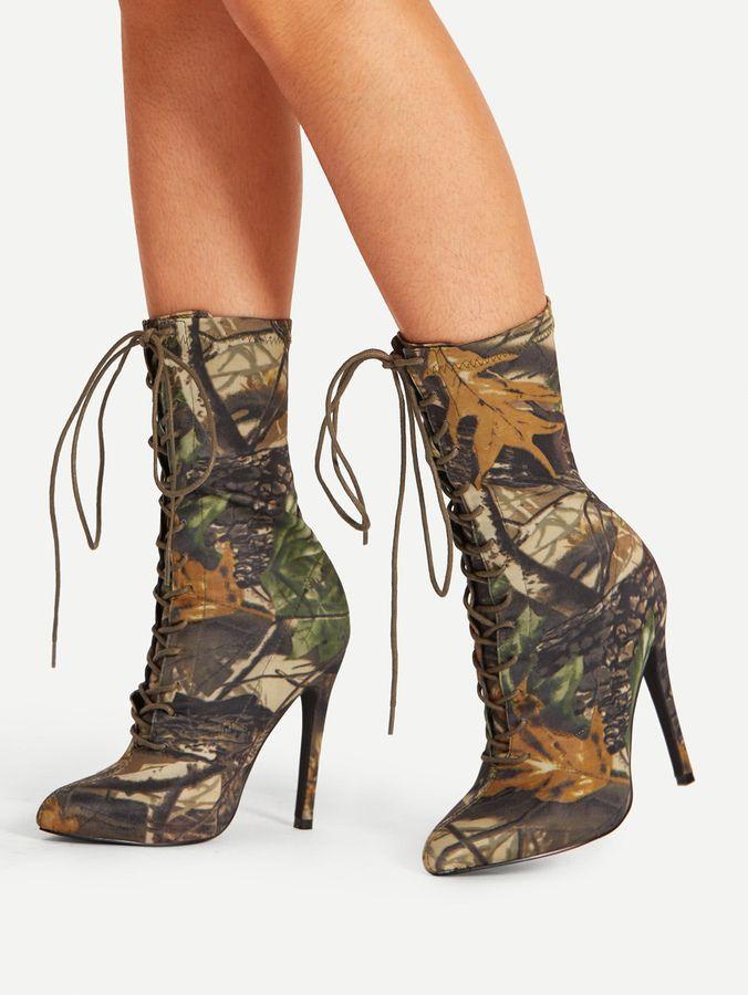 Mix Pattern Pointed Toe Stiletto Boots N42m2LJN