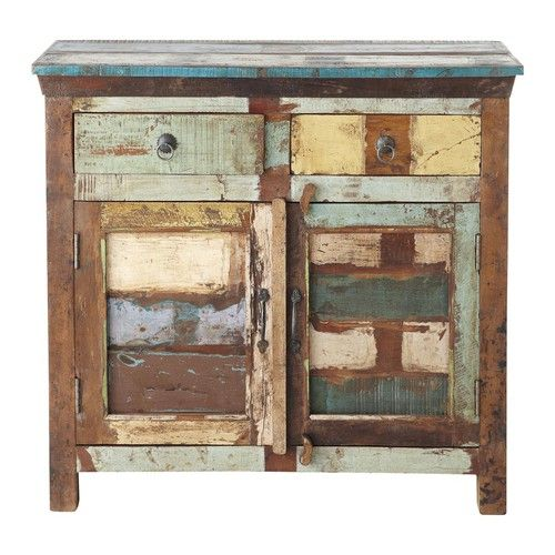 Calanque - Recycled wood sideboard, multicoloured W 90cm