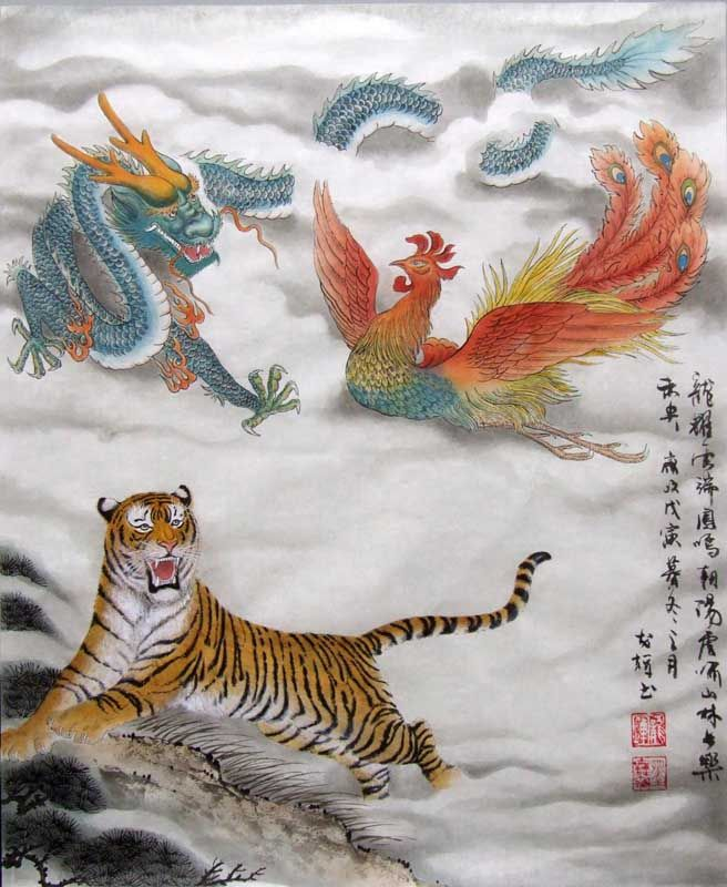 very beautiful chinese dragon, phoenix and tiger representation