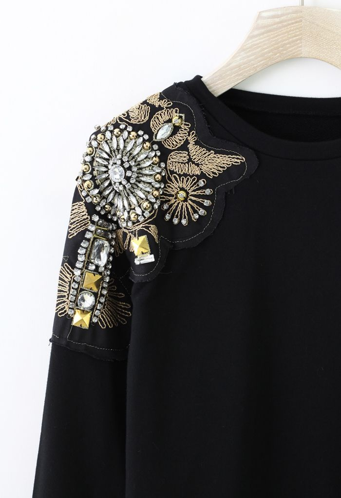 Crystal Beads Embellished Shoulder Sweat Top - New Arrivals - Retro, Indie and Unique Fashion