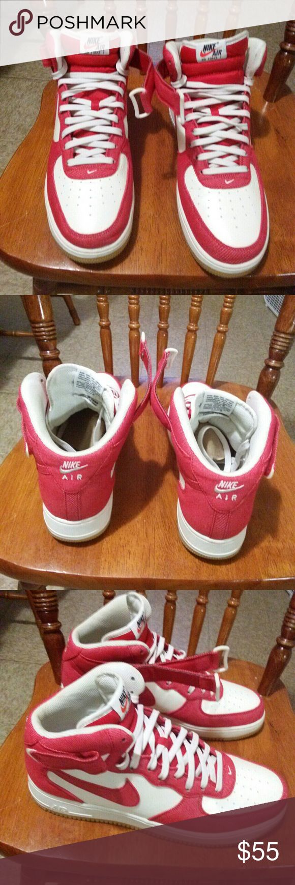 NIKE AIR FORCE 1 MENS SHOES SIZE 13 MENS AIR FORCE 1 MENS SHOES SIZE 13 SHOES ARE WHITE AND RED WITH GUM BOTTOM  SHOES ARE STILL IN GOOD CONDITION Nike Shoes Sneakers