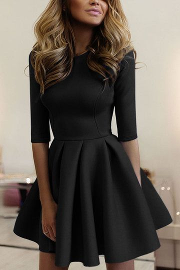 Casual Round Neck Mini Tight-waist Dress in Black - US$21.95 -YOINS