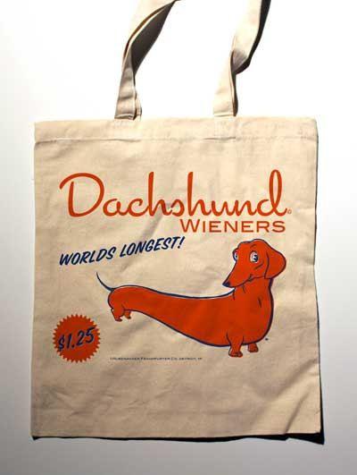 Dachshund Wiener Label Canvas Tote Bag by rubenacker on Etsy. $15.00, via Etsy.