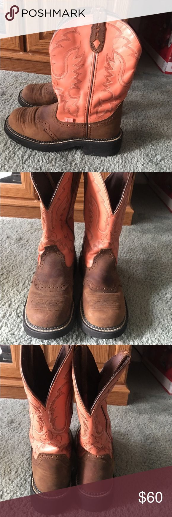 Justin Gypsy Cowgirl Boots Super cute coral Justin Gypsy Cowgirl Boots Justin Boots Shoes Ankle Boots & Booties
