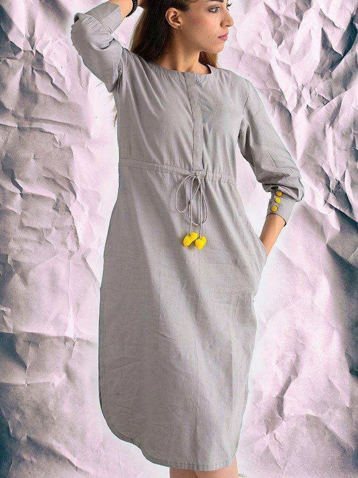 Grey Cotton Silk Shift Dress