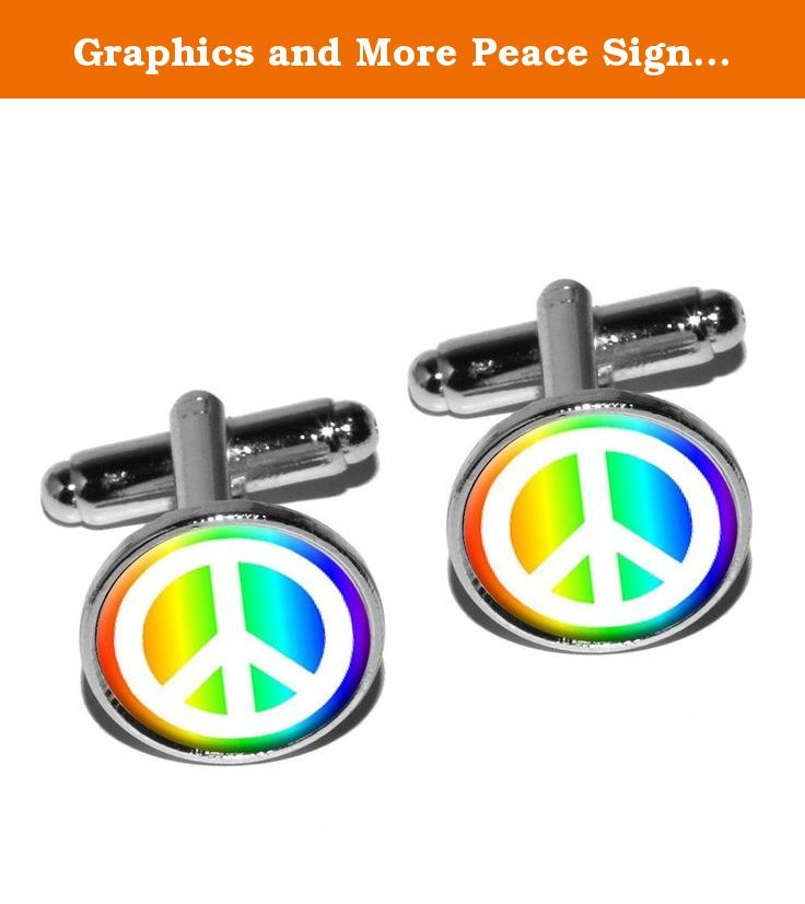 Graphics and More Peace Sign Symbol - Rainbow Round Cufflink Set - Silver. Delight the man in your life with this unique novelty cufflink set. Made of plated metal with the urethane encased design as shown.