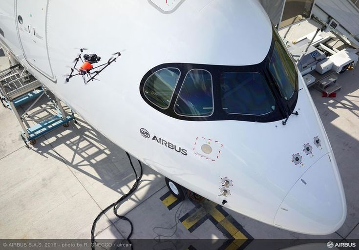 FARNBOROUGH, ENGLAND – Airbus has demonstrated aircraft visual inspection using a drone at the Farnborough Airshow. The drone,…