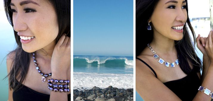 Fashion Shoot New Zealand with internationally acclaimed concert pianist Van-Anh Nguyen. Wearing the paua and sterling silver Island Paradise Necklace, earrings and bracelet and the freshwater pearl Punakiki necklace and bracelet.  Gorgeous!
