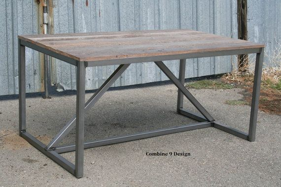Modern Dining Table/Desk made of reclaimed Wood and Steel. Mid Century. Urban. Vintage Industrial Style. Custom sizes. Distressed. Rustic.