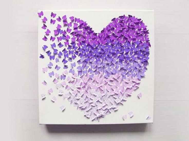 DIY-Anleitung: 3D-Bild mit Schmetterlingen im Ombré-Look selber machen via DaWanda.com