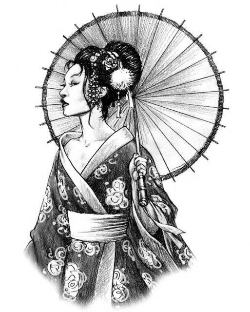 Японские картинки девушек карандашом