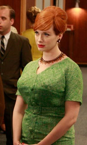 green dress with buttons and belt (Mad Men challenge ideas)
