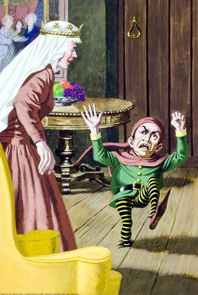 """16.- When the manikin returned with the queen she said her his real name was """"Rumpelstiltskin"""". Rumpelstiltskin was so angry that plunged his whole leg into the earth, then he pulled of his left leg so hard with both hands that tore himself in two."""
