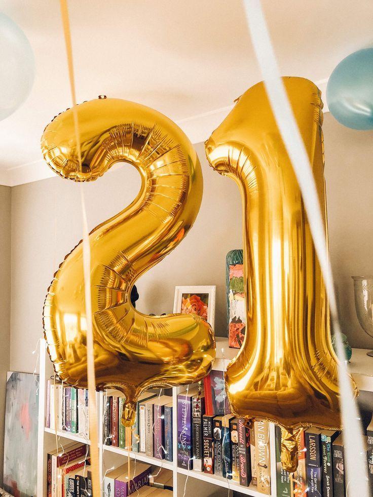 21st Birthday Idea Number Balloons Diy Home Decor 21st Birthday Decorations